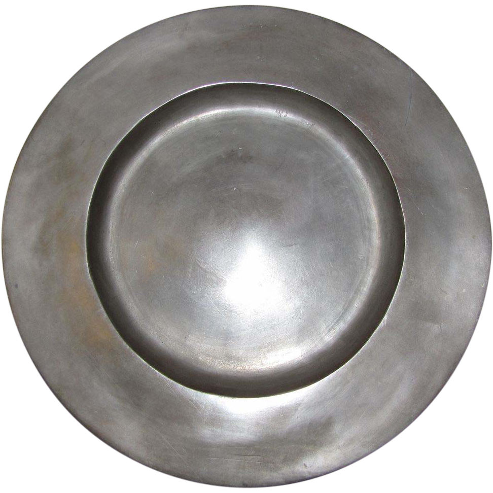 """12"""" 18th Century Pewter Charger, LONDON SUPERFINE"""