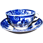 Lovely Early Flow Blue Cup & Saucer, BASKET, Maker Unknown