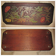 Large Lovely Tea Tray, Wood w/ Painted Pyrography (poker) Floral Design