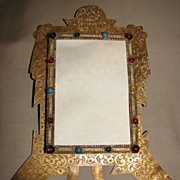 Most Unusual Brass Table-Top Photograph Frame w/ Stones