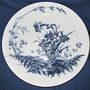 Large Blue & White Round Platter, or Charger, FIELD FLOWERS