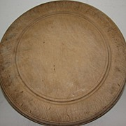 Nice Heavy Early Round English Bread Board, Carved