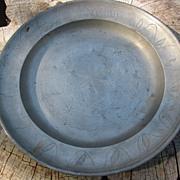 German Engraved Pewter Wedding Plate, P. H. Strauss  Engl.Blockzinn