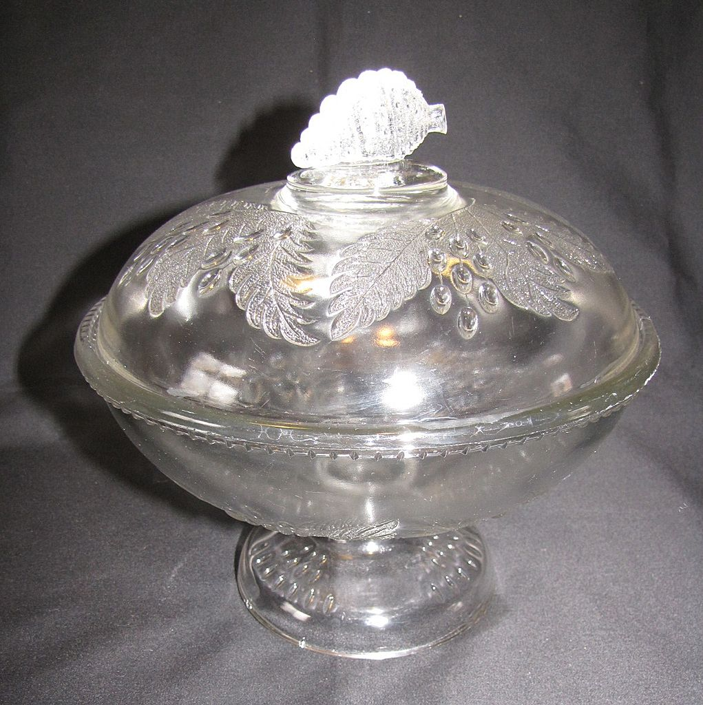 Early American Pattern Glass (EAPG) Covered Compote, BARBERRY