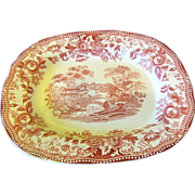 Lovely Red Transferware Platter, TONQUIN, Clarice Cliff