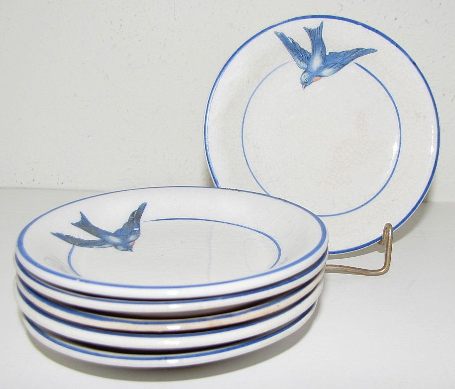 Lovely Bluebird Butter Pat, Not Marked, 4 Available.