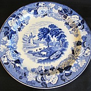 Lovely Blue Transferware Plate Woods Ware ENGLISH SCENERY