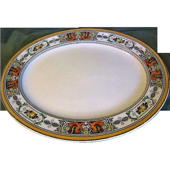Huge Polychrome Enameled Ironstone Platter, Early 19th C., England