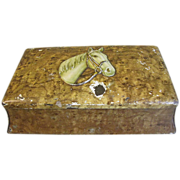 Vintage Collectible Biscuit Tin Box, Faux Birds-Eye Maple, Horse-Head