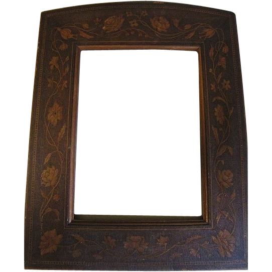 "Lovely Vintage Wood Frame, Floral Decoration, 6"" x 8"""
