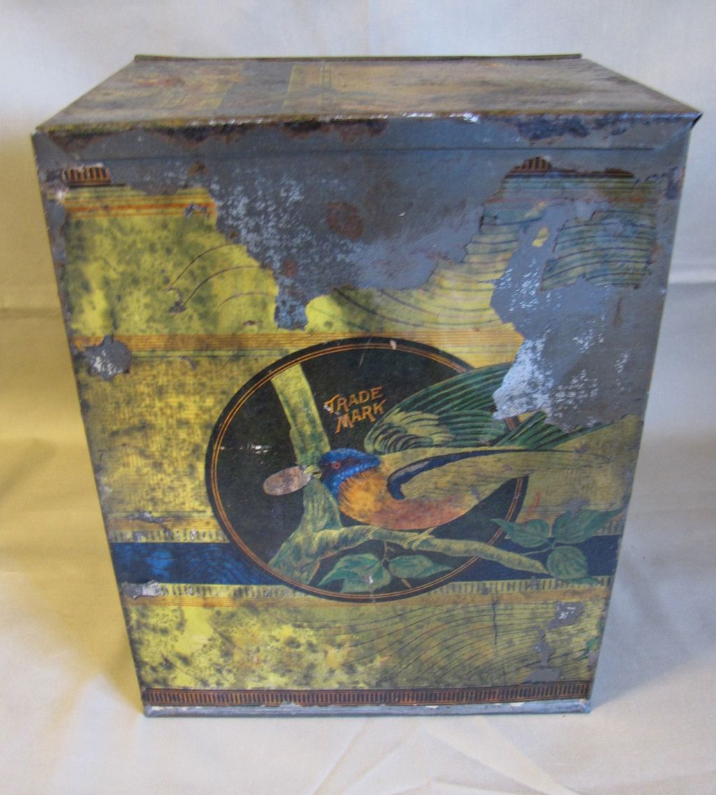 Large Early Tin (Cracker or Biscuit), Beautiful Bird Decoration