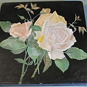 Lovely Papier Mache Handkerchief Box, Roses