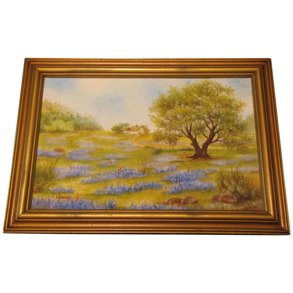 Vintage Framed Oil Painting, Texas BLUEBONNETS, Young