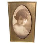 Lovely Small Brass Photograph Frame, Rectangular w/Oval Opening