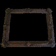 Antique Tramp Art Frame, 4-Layer Chip-Carved