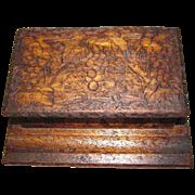 Lovely Pyrography (Flemish Art) Wood Desk Box, Grape Design