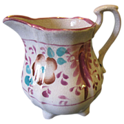 Lovely Small Lustreware Cream Pitcher, PINK, Floral