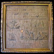 Antique Needlework SAMPLER, Emilie Harruff 1837