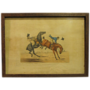 """C. 1821 Colored Engraving Henry Alken """"One of the Comforts of Riding in Company"""""""