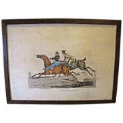 """C. 1821 Colored Engraving Henry Alken """"The Pleasure of Riding in Company"""""""