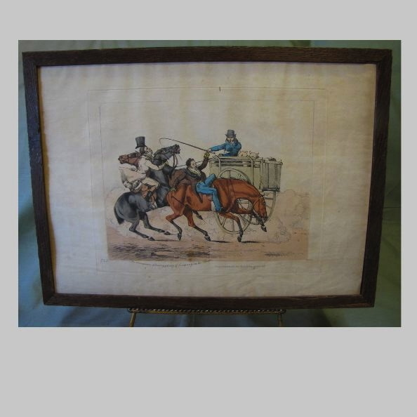"""C. 1821 Colored Engraving Henry Alken """"The Consequences of Having Plenty of Company on the Road"""""""