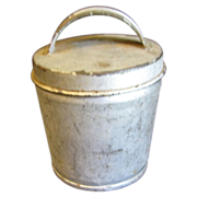 Small Vintage Tin Container, Lid with Handle, Egg Coddler