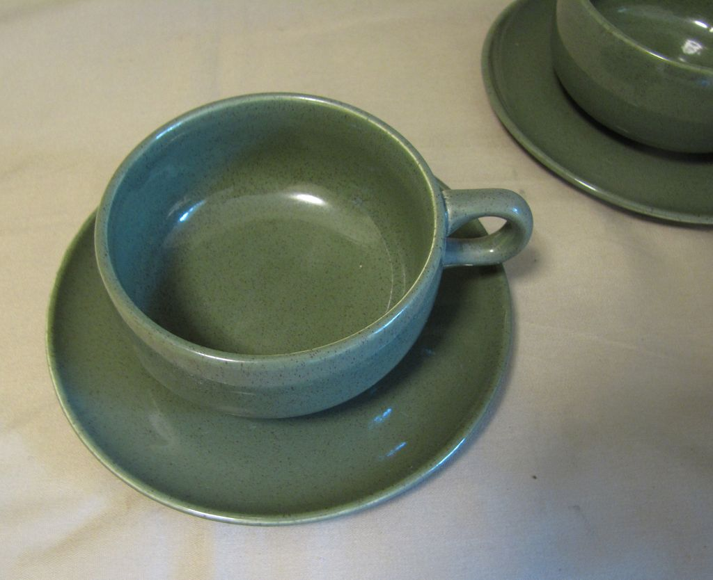 "Russel Wright Mid-Century ""American Modern"" CEDAR GREEN Cup & Saucer"