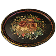 Huge Black Oval Tole Tray, Floral, Early and Well Loved