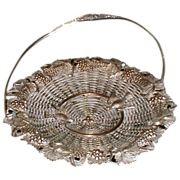 Gorgeous Silver on Copper French Basket Birds & Grapes