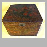 Lovely Large Flemish Art (Pyrography) Collar Box, Cherries