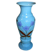 Lovely Vintage Blue Bristol Glass Vase, Painted Flowers