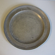 "Vintage French Pewter Plate, 9"" Diameter"