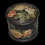 Lovely Round Papier Mache Powder Box, Roses