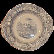 Light Blue Transferware Pedestal Bowl, STATUE, 19th C.