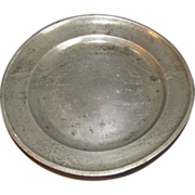 Most Unusual Pewter Plate, Landscape, Oriental Mark