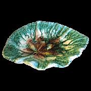 Lovely Antique Green Majolica Begonia Leaf