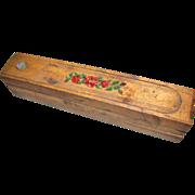 Antique Folk Art Wood Pencil Box, 3 Layer