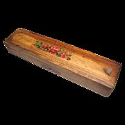 Antique Folk Art Wood Pencil Box, 2 Layer