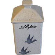 Highly Collectible Bluebird Spice Jar (Canister) ALLSPICE
