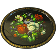 Very Lovely Vintage Large Russian Tole Tray, Floral