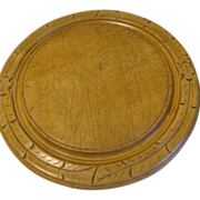 Nicely Carved Antique Round Bread Board