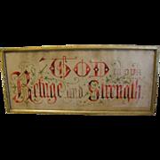 Antique Framed Punch Paper Sampler, Great Color