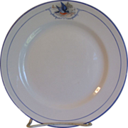 Vintage Bluebird Dinner Plate W.S. George Pottery