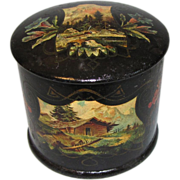 Lovely Antique Papier Mache Powder Box, Aesthetic Design