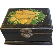 Lovely Black Victorian Mauchlin Ware Box, Morecambe