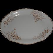 Lovely White Ironstone Platter, Brown Transfer Printed Design