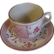 Lovely Staffordshire Pink Lustre Cup & Saucer