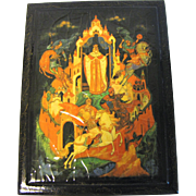 Vintage Black Lacquer Box, Fairy Tail Scene