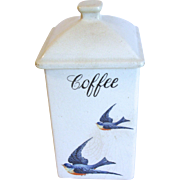 Vintage Bluebird COFFEE Canister, Hull Pottery