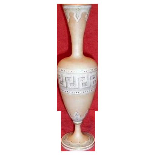 Gorgeous Antique Bristol Glass Vase, Painted, Greek Key